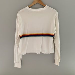 Rainbow striped white long sleeve tee